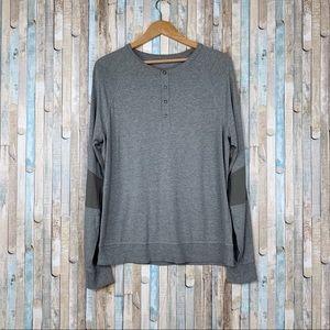 Lululemon M Gray Synth Long Sleeve Henley Shirt